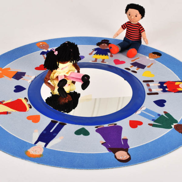 Hands Around the World Story Mat with mirror
